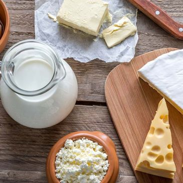 variety of high-fat dairy products