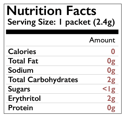 Nectresse nutrition facts