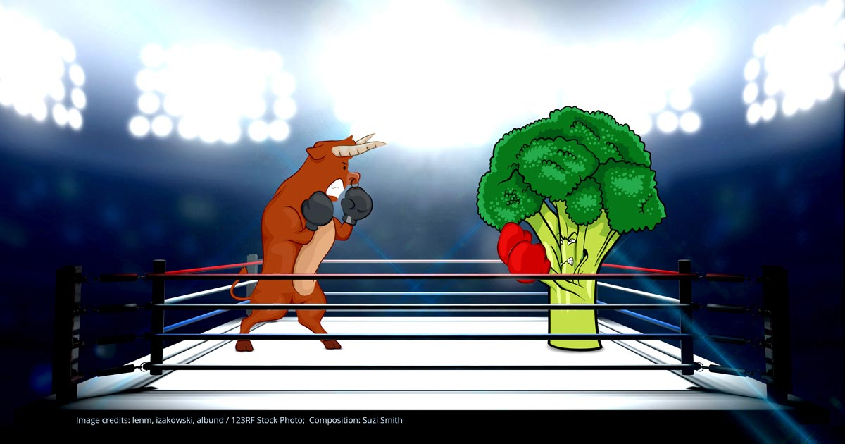 food fight: bull and broccoli as omnivore and vegan in a boxing ring