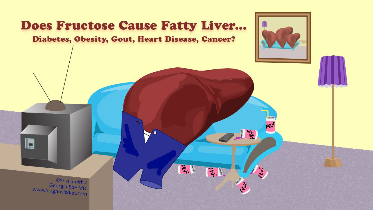 fatty liver on couch watching tv surrounded by empty fructose cans
